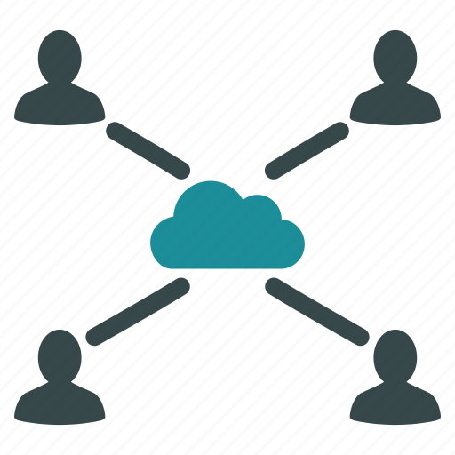 cloud, connections, links, network, online, people, users icon