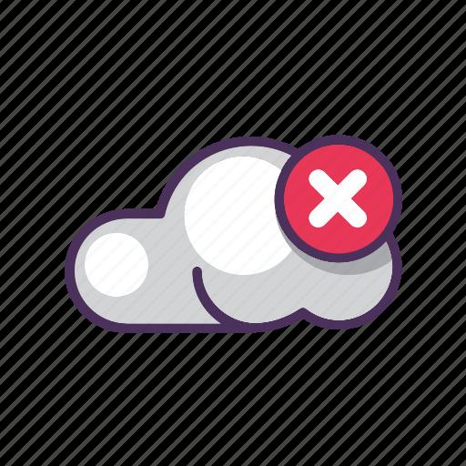 cloud, cross, data, delete, file, storage icon