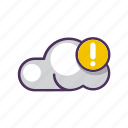 cloud, data, exclamation, file, storage, warning icon