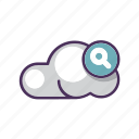 cloud, data, file, magnifying, search, storage, upload icon