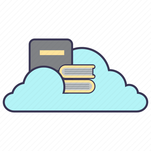 book, cloud, docs, information, library, service, storage icon
