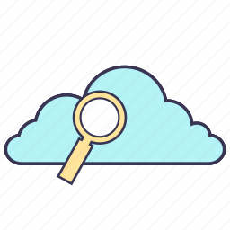 cloud, data, internet, magnifier, search, service, storage icon