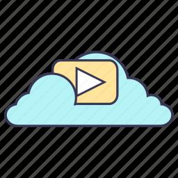 cloud, content, internet, media, service, storage, video icon