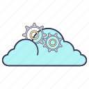 cloud, cogwheel, gears, internet, service, settings, storage icon