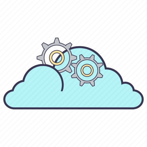 cloud, cogwheel, gears, internet, service, settings, storage icon