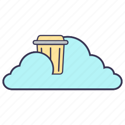 bin, cloud, content, internet, service, storage, trash icon