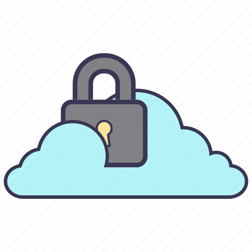 cloud, content, key, lock, security, service, storage icon