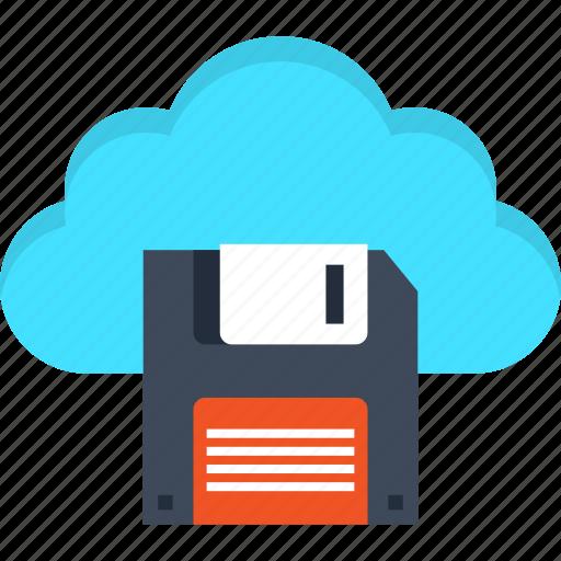cloud, data, disk, floppy, internet, service, storage icon