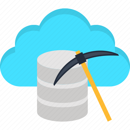 big data, bitcoin, cloud, data, database, internet, mining icon