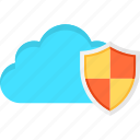 cloud, data, protected, protection, safe, security, shield icon