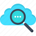 cloud, data, internet, magnifier, search, search engine optimization, seo icon