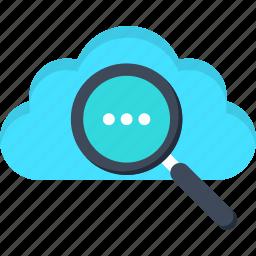 cloud, data, internet, magnifier, search, search engine optimization, seo icon