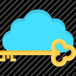 cloud, golden, internet, key, solution, solution key, success icon