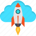 business, cloud, idea, internet, rocket, startup, success icon