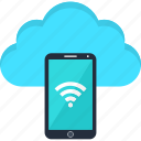 cloud, conection, internet, online, smartphone, tablet, wi-fi icon
