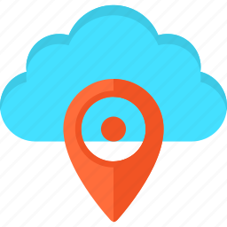 cloud, geo tag, gps, internet, pin, pointer, tracking icon