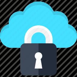 cloud, data, database, internet, lock, security, storage icon