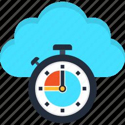 clock, cloud, database, deadline, server, time, timer icon