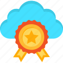 award, best, cloud, internet, medal, server, web icon