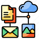 cloud, different, format, data, file, document, storage icon