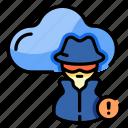 cloud, hacker, anonymous, thief, criminal, cybercrime, alert