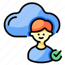 cloud, identity, approved, man, profile, verification, user