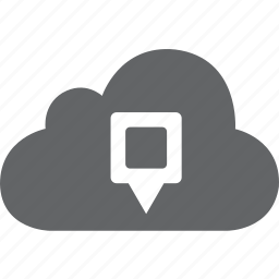 cloud, direction, location, marker, pin, place, pointer icon