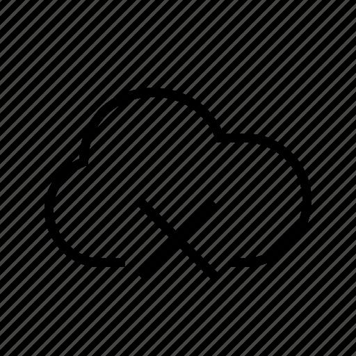block, cloud, cross, delete, remove, trash icon