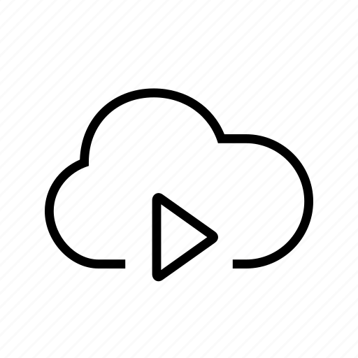 cloud, play, streaming, video icon