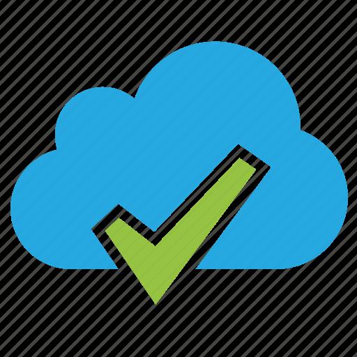 approve, cloud, done, right, success, successful, tick icon