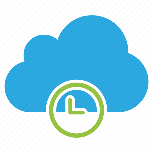 clock, cloud, good time, green, perfect time, right time, time icon