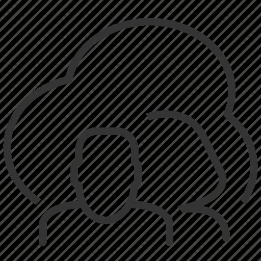 cloud, file, people, social, team, upload, work icon