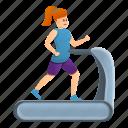 girl, run, treadmill, woman