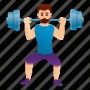 barbell, coach, gym, man, sport