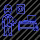 male, coder, coding, html, pc, tablet, web, desk, code, programmer, software, developer icon