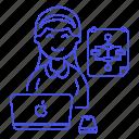 1, chart, coder, coding, developer, female, flow, flowchart, laptop, macbook, programmer, software icon