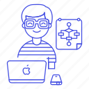 chart, coder, coding, developer, flow, flowchart, laptop, macbook, male, programmer, software icon