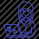 1, attack, coding, hacker, hacking, half, hoodie, laptop, male, malware, phishing, sticker icon