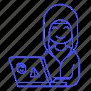 attack, coding, female, hacker, hacking, half, hoodie, laptop, malware, phishing, sticker icon