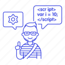 code, coding, cog, developer, developers, java, javascript, male, programmer, script, snippet, speech icon