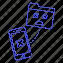 bugs, coding, corrupt, dead, error, file, folder, phone, smartphone, smiley icon