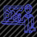 1, 2, bugs, coding, fix, fixing, laptop, maintenance, male, repair, service, setting, tech, technician icon