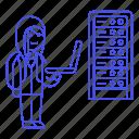 attack, coding, female, full, hacker, hacking, rackmount, server, threat, vulnerability icon