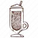 cappuccino, cocktail, coffee, cold coffee, drink, milkshake, shake icon
