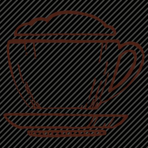 coffee, cup, cup of coffee, drink, foam, mug, tea icon