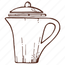 coffee, coffeepot, drink, hot, kettle, pot, tea icon