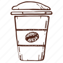 coffee, cup, glass, takeaway, сup of coffee icon