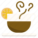 coffee, drink, fresh, hot, lemon icon