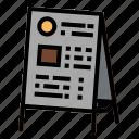 board, daily, food, menu, restaurant icon
