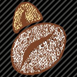 beans, coffee, grains, ground coffee beans icon